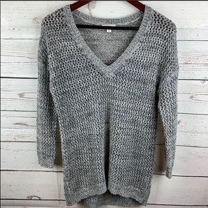 Caslon | Gray V Neck Open Knit Pullover Sweater